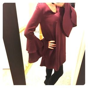 Lulu's Burgandy Shift  Dress w/ Bell Sleeves (S)
